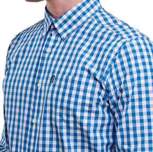 Auton Tailored Fit Button Down in Aqua by Barbour  - 4