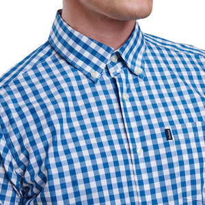 Auton Tailored Fit Button Down in Aqua by Barbour  - 3