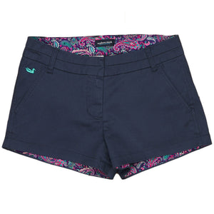 The Brighton Short in Colonial Navy with Paisley by Southern Marsh  - 1