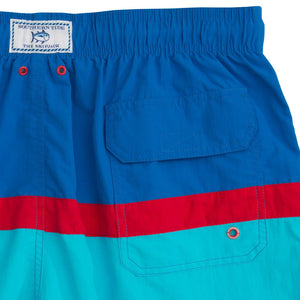 Color Block Swim Trunk in Royal Blue