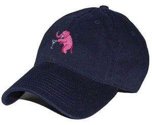Elephant Martini Needlepoint Hat in Navy