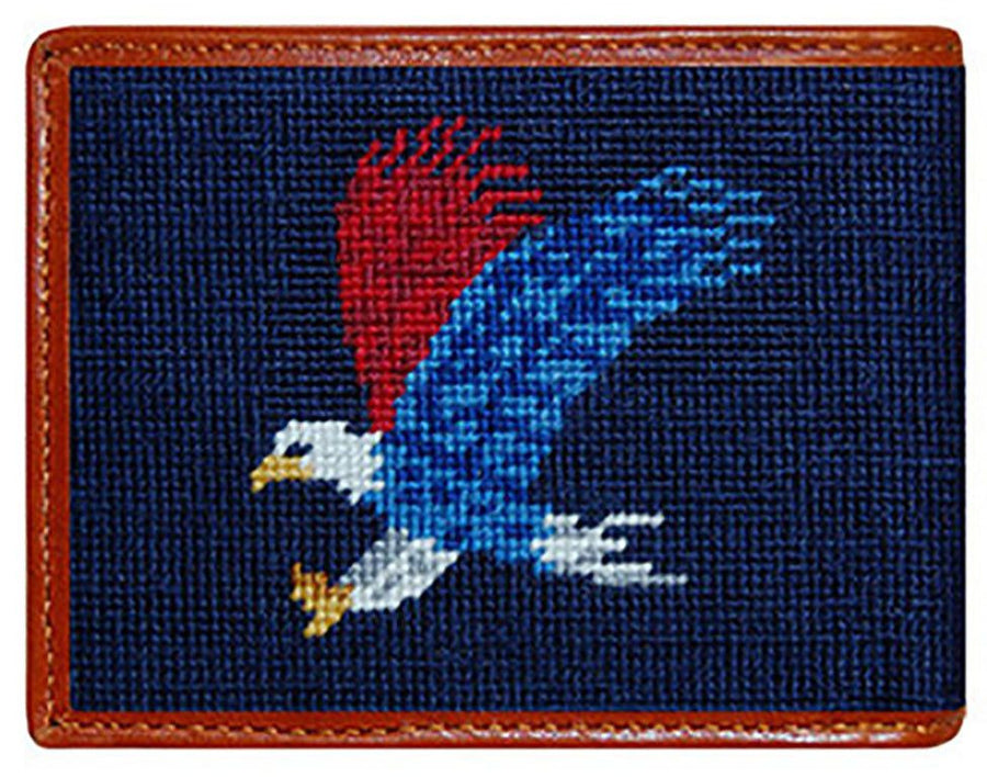 Americana Needlepoint Wallet in Navy