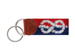 Nautical Knot Needlepoint Key Fob in Red & Navy