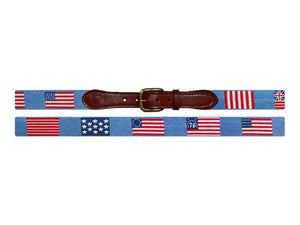 Flags of our Fathers Needlepoint Belt in Antigua Blue