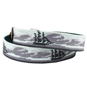 Ghost Ship Needlepoint Belt in Grey by Parlour  - 2