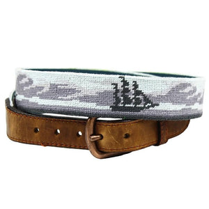 Ghost Ship Needlepoint Belt in Grey by Parlour  - 1