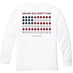 Grand Old Party Time Bottle Cap Flag Long Sleeve Tee in White   - 1
