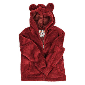 YOUTH Silky Pile Pullover Teddy Bear in Red