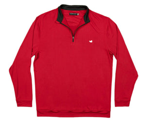 Half Moon Performance Pullover 1/4 Zip in Crimson by Southern Marsh  - 1