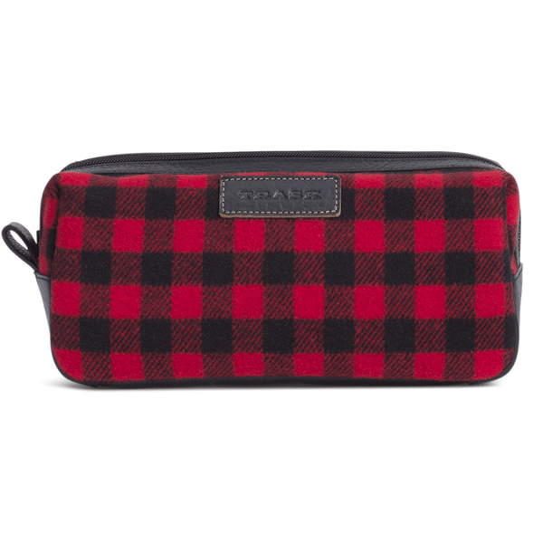 Jackson Toiletry Kit in Red and Black Italian Wool