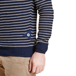 Legion Stripe Crew in Navy by Barbour  - 4