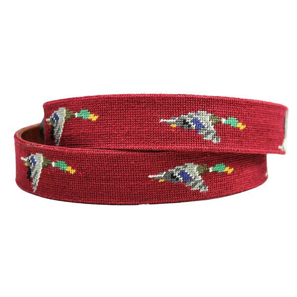 Mallard Needlepoint Belt in Garnet