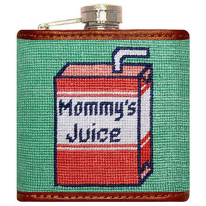 Mommy's Juice Needlepoint Flask in Green