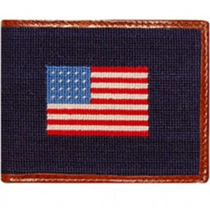 American Flag Needlepoint Wallet in Navy