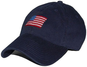 American Flag Needlepoint Hat in Navy