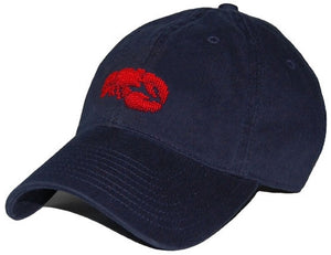 Lobster Needlepoint Hat in Navy