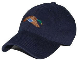 Flying Mallard Needlepoint Hat in Navy