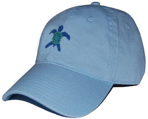 Sea Turtle Needlepoint Hat in Sky Blue