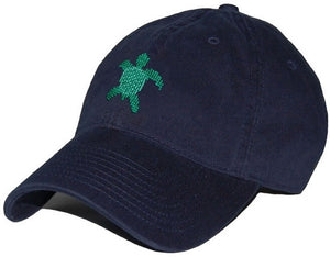 Sea Turtle Needlepoint Hat in Navy