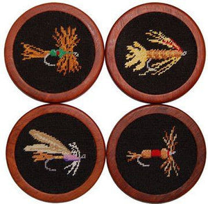 Fishing Flies Needlepoint Coasters