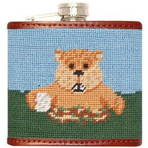 Caddyshack Needlepoint Flask in Blue and Green