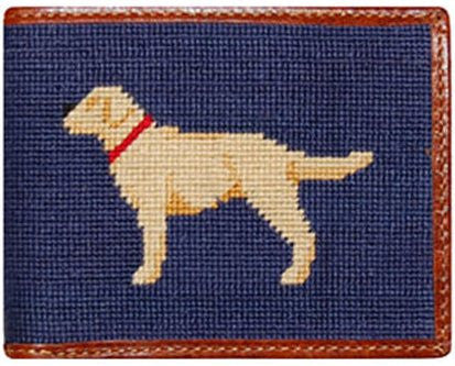 Yellow Lab Needlepoint Wallet in Blue
