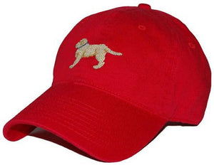 Yellow Lab Needlepoint Hat in Red