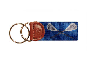 Lacrosse Sticks Needlepoint Key Fob in Royal Blue