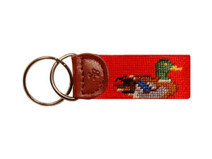 Ducks Needlepoint Key Fob in Orange