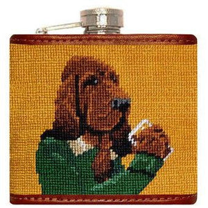 Booze Hound Needlepoint Flask in Tan