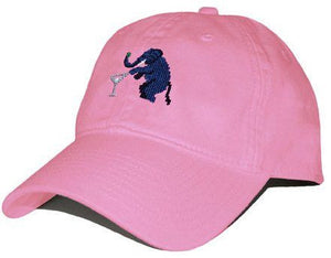 Elephant Martini Needlepoint Hat in Pink
