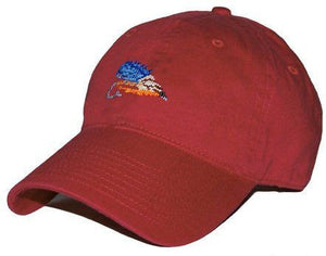 Fishing Fly Needlepoint Hat in Rust Red