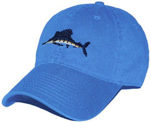 Sailfish Needlepoint Hat in Royal Blue