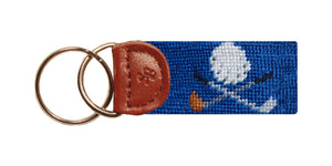 Golf Clubs Needlepoint Key Fob in Blue