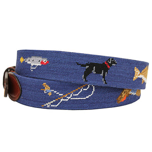 Southern Sportsman Needlepoint Belt in Navy