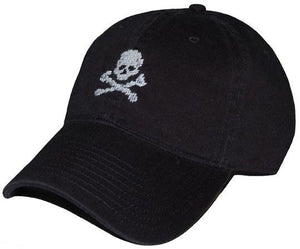 Jolly Roger Needlepoint Hat in Black