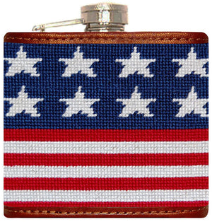 Old Glory Needlepoint Flask in Red, White, and Blue