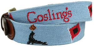 Goslings Rum Needlepoint Belt in Light Blue