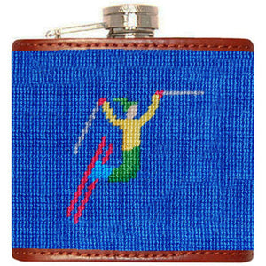 Ski Tricks Needlepoint Flask in Cobalt