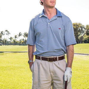 Bermuda Performance Polo in Light Blue and White Stripe by Southern Marsh