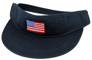American Flag Needlepoint Golf Visor in Navy