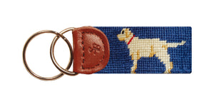Yellow Lab Needlepoint Key Fob in Blue
