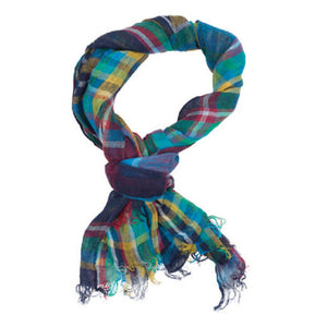 Newark Check Scarf in King Fisher Plaid
