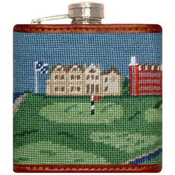 Old Course Needlepoint Flask