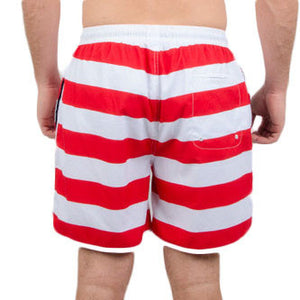 Old Glories Swim Trunks in Red, White, and Blue
