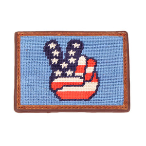 Patriotic Peace Needlepoint Credit Card Wallet by Parlour  - 1