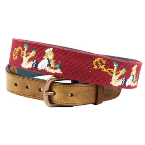 Pin-Up Girl Needlepoint Belt in Light Burgundy by Parlour  - 1