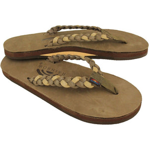 Twisted Sister Single Layer Premier Leather Sandal Dark Brown and Sierra Brown by Rainbow Sandals  - 1