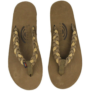 Twisted Sister Single Layer Premier Leather Sandal Dark Brown and Sierra Brown by Rainbow Sandals  - 2