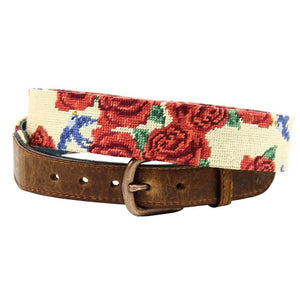 Rose Print Needlepoint Belt in Khaki by Parlour  - 1